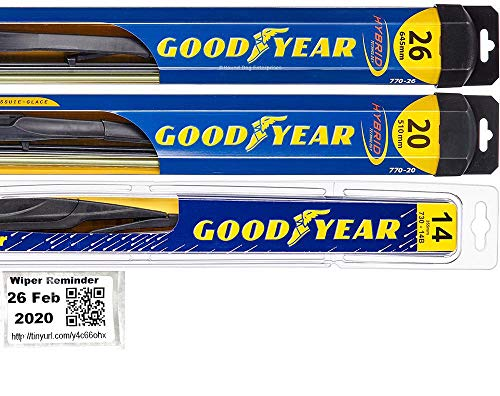 Windshield Wiper Blade Set/Kit/Bundle for 2014-2018 Acura MDX - Driver, Passenger Blade & Rear Blade & Reminder Sticker (Hybrid with Goodyear Rear)