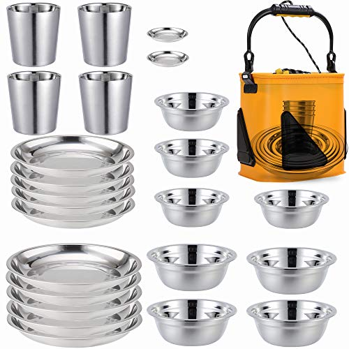 Stainless Steel Plates,Bowls,Cups and Spice Dish. Camping Set (24-Piece Set) 3.5inch to 8.6inch. Camping, Hiking, Beach,Outdoor Use Incl. Collapsible Water Bucket
