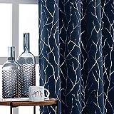 YJ YANJUN Tree Branch Pattern Metallic Painting Blackout Room Darkening Thermal Insulated Grommet Window Curtains 2 Panels 52W×84L Navy/Silver
