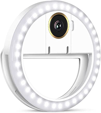 Selfie Light Ring, OU-BAND LED Rechargeable Clip On Phone Ring Lights with Macro Camera Lens for Smart Phone Laptop Camera Photography Video Lighting - White