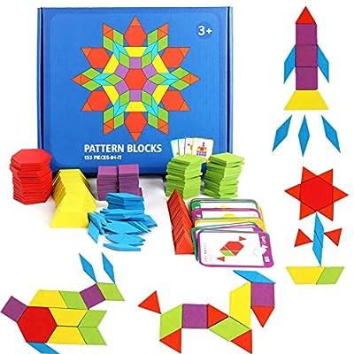 GEMEM 155 Pcs Wooden Pattern Blocks Set Geometric Shape Puzzle Kindergarten Classic Educational Montessori Tangram Toys for Kids Ages 4-8 with 24 Pcs Design Cards by GEMEM