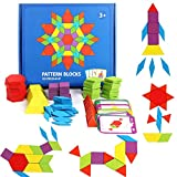 GEMEM 155 Pcs Wooden Pattern Blocks Set Geometric Shape Puzzle Kindergarten Classic Educational Montessori Tangram Toys for Kids Ages 4-8 with 24 Pcs Design Cards