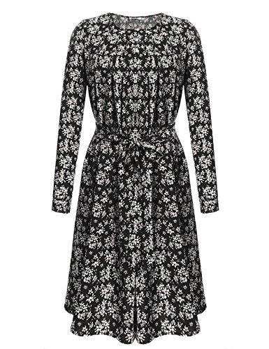 Parabler Damen Kleider Blumen Langarm Sommerkleid Freizeitkleid Strandkleid Knielang A Linie mit Knopf