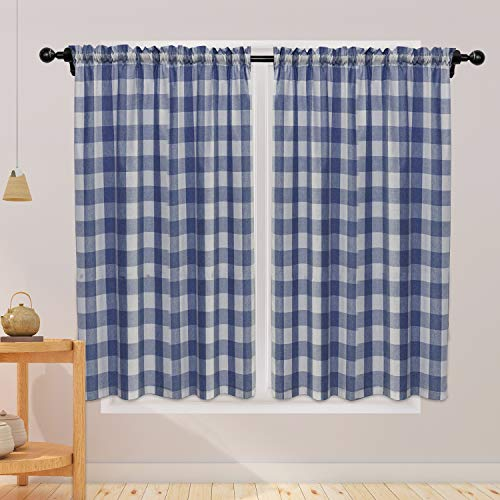 Buffalo Check Curtains 45 inches Long Cotton Basement Navy Blue and White Gingham Plaid Kitchen Window Curtain Panels Living Room Checker Drapes Bedroom Rod Pocket Window Treatment 2 Panels