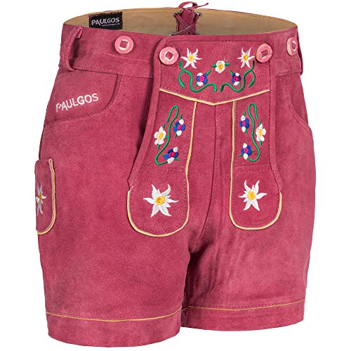 PAULGOS Damen Trachten Lederhose + Träger, Echtes Leder, Kurz in 8 Farben Gr. 34-50 M1, Damen Größe:46, Farbe:Pink
