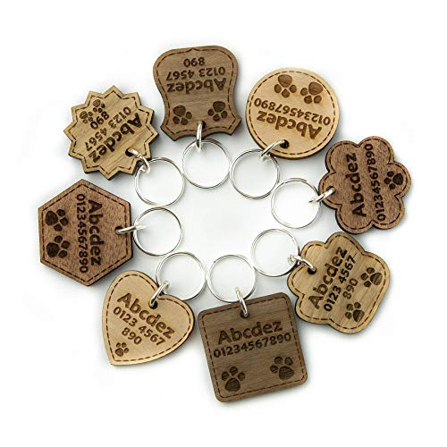 National Engraver Hundemarke Anhänger fürs Halsband Personalisiert Katze Haustier ID Graviert Holz Massivholzarten Hölzern