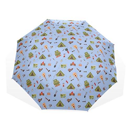 LASINSU Regenschirm,Camping Icons wie Zelt Gitarre Lagerfeuer und Stiefel Illustration für Kinder,Faltbar Kompakt Sonnenschirm UV Schutz Winddicht Regenschirm