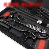 YHtech Personalizada de 6 Pulgadas Negro Pintado a Mano Mango Tijeras de peluquería Tijeras Plana + Diente Tijeras Set (Color: Negro)