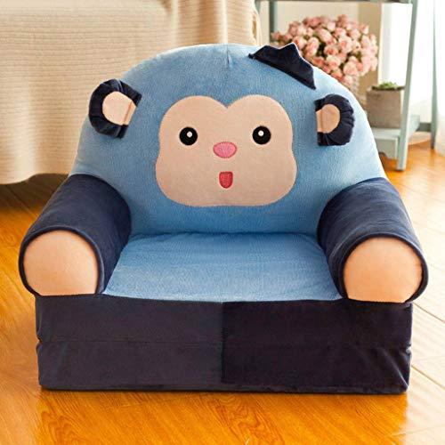 MO&SU Kind Relaxsessel, Falten Schlafsofa Kind Sessel Cartoon Faule Couch Lehrstuhl Baby Bodenstuhl Für Kindergarten Geburtstag Blauer AFFE