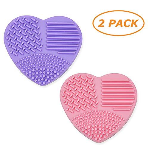 Limpiador de pinceles de maquillaje, la almohadilla de limpieza de silicona con esponja de eliminación de color Limpia fácilmente los pinceles o cambia el color de los pinceles cosméticos
