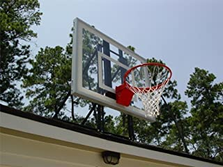Roof King Gold: Complete Roof-Top Mounted Basketball Goal System with 48 Inch Clear Acrylic Backboard Perfect for 1-Car Garage Home Driveways