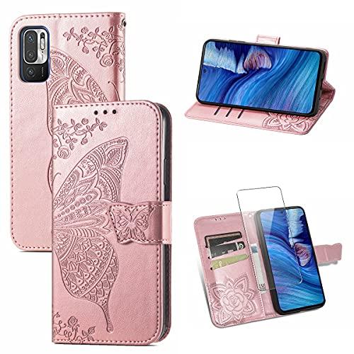 Funda para Redmi Note 10 5G, Rosa PU Cuero Función de Billetera Flip Protectora Carcasa con UNO Cristal Templado Protector de Pantalla para Xiaomi Redmi Note 10 5G / Poco M3 Pro 5G (6.5 Pulgad