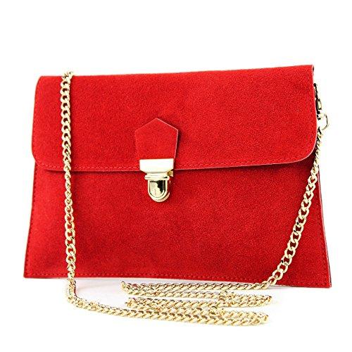 modamoda de - T206 - ital. Clutch aus Wildleder mit Goldkette, Farbe:Rot