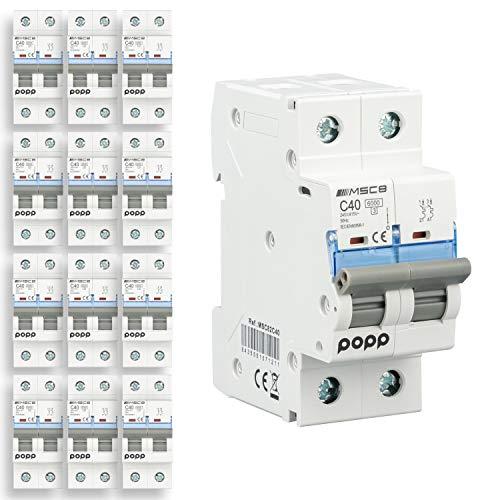 POPP Interruptor Automático Magnetotérmico 2P serie MSC82 gama Industrial CURVA C corte 6000A 6A,10A,16A,20A,25A,32A,40A,63A Pack 6,12 (40A, Pack 12)
