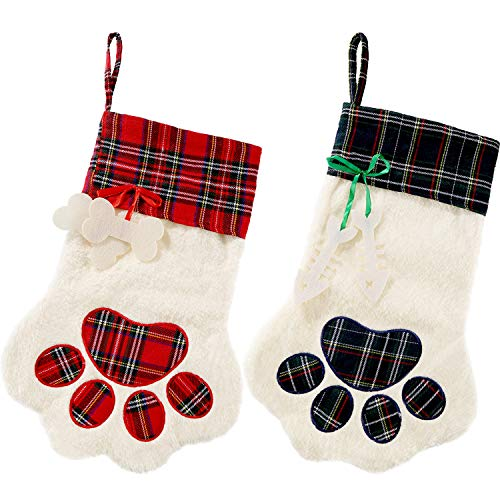 2 Pieces Christmas Stockings Pet Paw Pattern Stockings Fireplace Hanging Stockings for Pet and Christmas Decoration (Red and Green)