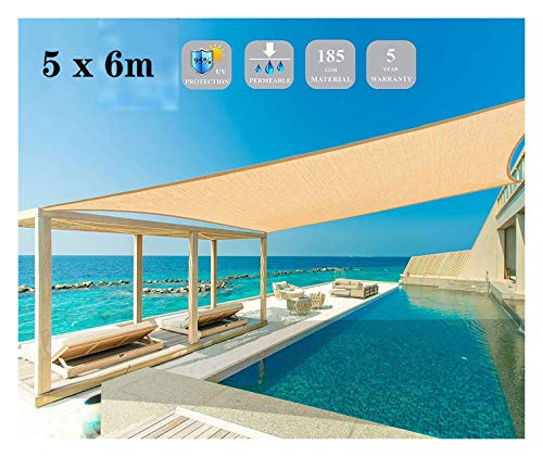 Toldo Vela de Sombra Experto en jardines de la cortina de Sun del viento de arena Canopy generosa pantalla de tela UV Bloque Terraza Jardín del patio trasero al aire libre del color de la arena