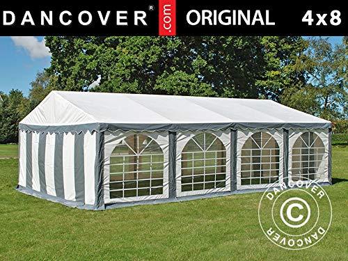 Dancover Partyzelt Pavillon Festzelt Original 4x8m PVC, Grau/Weiß