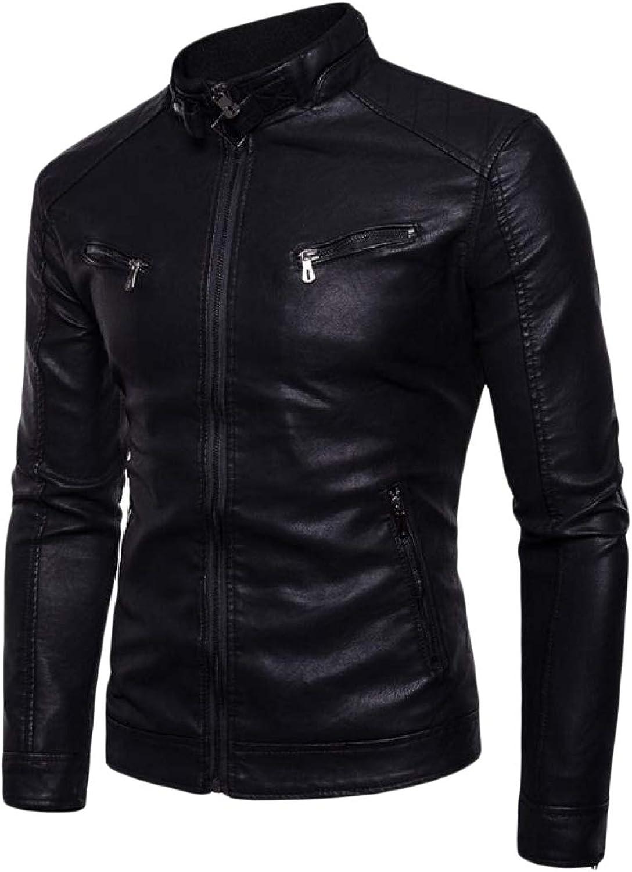 Cheelot Men's Outwear Bomber Racer Stand Collar Zip Up Pu Leather Jacket