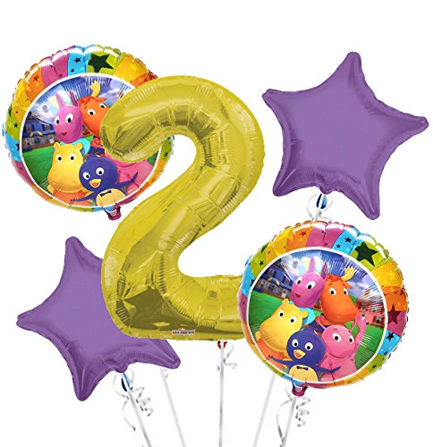 Backyardigans Balloon Bouquet 2nd Birthday 5 pcs - Party Supplies
