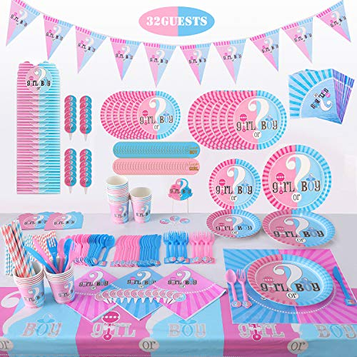 Gender Reveal Party Supplies Tableware Set - (371 PCS) Baby Gender Reveal Partyware Kit For 32 Guest Baby Gender Reveal With Flatware, Spoons, Plates, Cups, Straws, Napkins, Invitation Card, Tablecloth, Cake Topper, Stickers, Triangle Flag Banner, Great For Girl or Boy Gender Reveal  Decorations