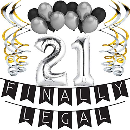 21st Birthday Party Pack - Black & Silver Happy Birthday Bunting, Poms, and Swirls Pack- Birthday Decorations - 21st Birthday Party Supplies