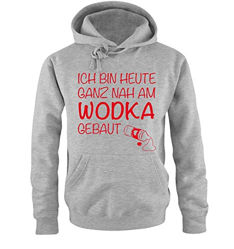 Comedy Shirts Ich Bin Heute ganz nah am Wodka gebaut. - Herren Hoodie - Grau/Rot Gr. S