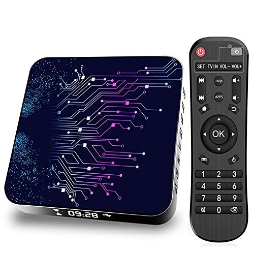 GEQWE Android TV Box, TP02 Android 10.0 TV Box, 4GB RAM 64GB ROM, RK3318 Quad-Core 64Bits Arm Cortex-A53 Admite 2.4G 5G Dual WiFi / 4K / BT 5.0 / USB 2.0 / 3D / H.265 Smart TV Box,4gb+32gb