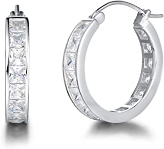 Carleen White Gold Plated Sterling Silver Channel Setting Princess Cut AAA Cubic Zirconia CZ Small Bold Hoop Earrings for Women Girls Outer Diameter 15mm