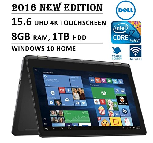 2016 DELL Inspiron i7568 Flagship High Performance 2-in-1 15.6' 4K Ultra HD Touchscreen Convertible Laptop PC, Intel Core i7-6500U Processor, 8GB RAM, 1TB HDD, Backlit Keyboard, Windows 10