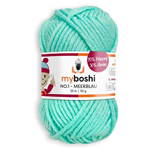 myboshi, No.1 Wolle, 70% Polyacryl, 30% Merinowolle, Meerblau, 50g, 55m, 1 Knäuel, Garn zum Häkeln und Stricken, Formstabil, Pflegeleicht