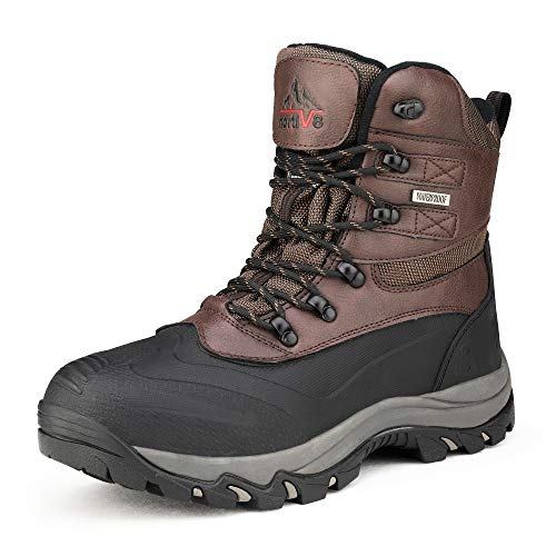 NORTIV 8 Men's Insulated Waterproof Construction Rubber Sole Winter Snow Boots 2160443 Dk.Brown Black Size 8 M US