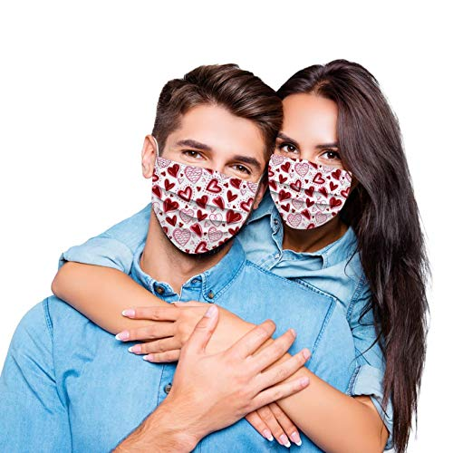 Koippimel 50Pcs, Valentine's Day, Couple Disposable Face_Mask, Heart Printed, Adult Breathable 3Ply_Masks with Nose Bridge Strip, High Filtration for Nose and Mouth Full Protection, 1109 Style_111