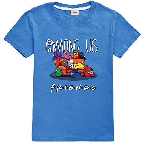 Camiseta Divertida para niños Among Us Gaming Impostor Character 100% algodón Niños Niñas Camiseta Viral Gamer Top-13 Colores/Edad 4-13 años (Blue,10-11 años)