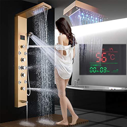 LED Duschpaneel aus rostfreiem Edelstahl mit Wanneneinlauf, Temperaturanzeige und 8 Massagedüsen Farbe: Golden