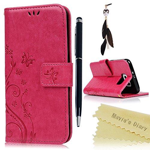 Funda para Samsung Galaxy S6 Libro de Cuero Impresión Con Tapa y Cartera,Correa de mano - Mavis's Diary Carcasa PU Leather Con TPU Silicona Case Interna Suave,Soporte Plegable,Ranuras para Tarjetas y Billetera,Cierre Magnético - Funda Hecho para Samsung Galaxy S6