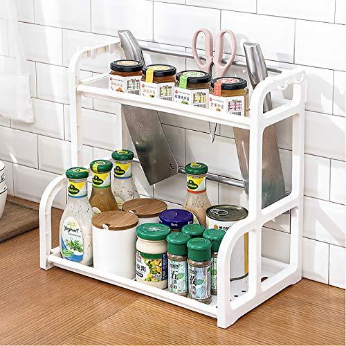 Qisiewell Estantería para especias de 2 niveles, color blanco, para armarios de cocina y encimeras, organizador de cocina para tarros de especias, latas y botellas