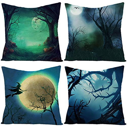 Clouds Halloween Dekorative Kissenhülle, Baumwolle Leinen Kissenbezüge Mit Verstecktem Reißverschluss 45 X 45 cm Für Sofa Auto Schlafzimmer Zuhause Dekor, 4 Stück