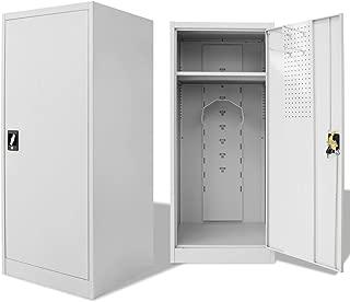 Festnight Tall Steel Saddle Storage Cabinet Lockable Doors 23.6