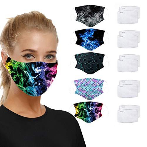QJMY Damen Herren Allround Schutzgesichts 3D Form Mundschutz Face Cover Universal Dustproof Sunscreen Breathable Mehrzweck-WaschScarf Mund und Nase vor Verunreinigungen Halstuch Bandana
