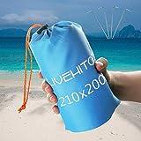 LIVEHITOP Manta de Playa 210x200cm Anti-Arena - Alfombra de Picnic Impermeable Plegable Extra Grande para Camping, Jardín, Viaje, Al Aire Libre, Azul