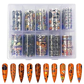 10 Rolls Halloween Nail Foil Transfer Sticker Sportsvoutdoors Pumpkin Spider Skull Ghost Witch Nail Decals for Halloween Festival Party Wraps Transfer Adhesive Glitters DIY Acrylic Nails