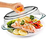 Bezrat Microwave Tall Glass Plate Cover For Food | Splatter Guard Lid with Easy Grip Silicone Handle Knob & Steam Vents | 100% Food Grade | BPA Free and Dishwasher Safe | Plates and Bowls 10 x 3 Inch