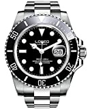 LOREO Mens Silver Stainless Steel Sapphire Glass Black Rotating Bezel Men's Automatic Watch (Black...