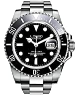 LOREO Luxury Mens Silver Stainless Steel Luminous Sapphire Glass Black Rotating Bezel Date Waterproo...