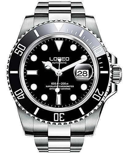 Relógio masculino automático prateado com vidro safira preto e bisel giratório LOREO, Mostrador preto com pulseira de aço inoxidável prateada.