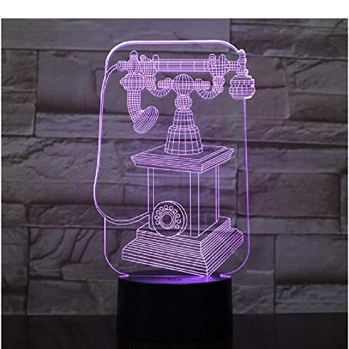 Lámpara 3D Teléfono Vintage Batería Powered Color Cambiando Regalo de Navidad para adolescente USB LED Luz Noche Lámpara