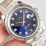 HHBB Marca de lujo hombres de acero inoxidable automático mecánico zafiro negro azul gris blanco diamante 36mm Dial Sport Relojes Aaa+, azul
