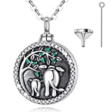EUDORA Elefante Colgantes para Cenizas Elefante Collar de Ceniza Árbol de la Vida Plata de ley 925 Mujer Colgantes Elefante Collar de Urna, Collar de Ceniza para Mujer Regalos Originales, 45,7cm