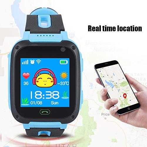 Aeloa Kid Smart Watch, Anti-verlorene Tracker Safe Touch Screen Kid Kinderuhr (Farbe : Blau)