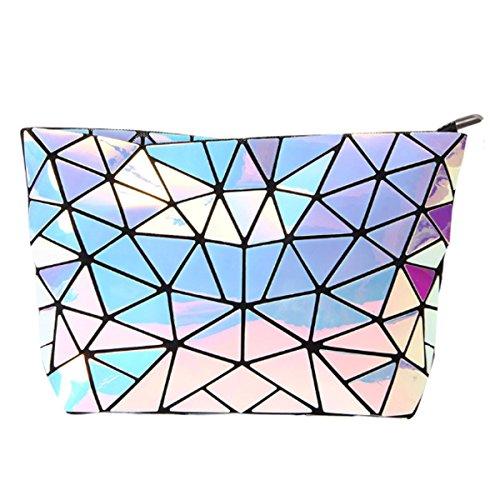 AiSi Damen Lackleder Handtasche/Abendtasche/Clutch/Damenhandtasche/Schultertasche/Umhängetaschen/Henkeltasche/Ledertasche mit Zusatzkette Reißverschluss Geometrie Motiv (Hologramm)
